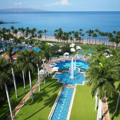 Brides.com: . 9. Grand Wailea. Act like adults at the hush-hush, mosaic-tiled Hibiscus Pool, or head to the Canyon Activity pool to be kids again on the whitewater rapid slide and Tarzan rope swing.  Rooms from $369; Grand Wailea