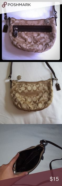 Coach crossbody satchel Small pre-owned tan and brown Coach crossbody bag has an external zip pocket as well an an internal zip pocket, and top zip closure. Has a few pulls and tears on the fabric as shown in last picture, but otherwise in good condition and very clean. 8.5 inches in length, 7 inch opening, 6 inch depth, straps are a 23 inch drop. Coach Bags Satchels