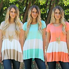 We love this chic top!! So soft and feminine and flattering on!! Lovely spring colors and only $19.99!!