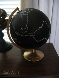 Curb Alert! : Global Decor {Chalkboard Painted Globe}