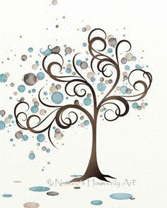 Blue and Brown Watercolor Art Tree Print, Whimsical Bird Family, 8 x 10 Watercolor Tree Art, Circles, Natural Colors, Nature Wall Decor. $16.00, via Etsy.