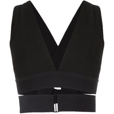 Osklen strappy cropped top (1 825 SEK) ❤ liked on Polyvore featuring tops, black, spaghetti-strap tops, cropped tops, sleeveless crop top, cut-out crop tops and osklen