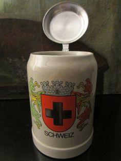 Gerz West Germany Ceramic Schweiz Beer Stein Pewter Lid – Designer Unique Finds