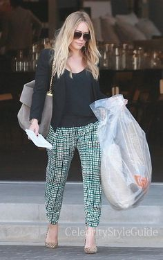 Seen on Celebrity Style Guide: Hilary Duff, wearing the Abbey Silk Pants, has her hands full after doing some furniture shopping in Culver City, California on September 17, 2013