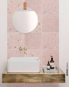 terrazo flooring Light pink terrazzo tile on bathroom wall vanity backsplash. The new and trendy terrazzo collection Marble 5 from Mosaic del Sur comes in pastel colours with small sparse white marble pieces for a clean fresh look Bathroom Interior Design, Bathroom Wall, Bathroom Furniture, Bathroom Wall Tile, Terrazzo Tile, Terrazzo, Bathroom Decor, Trendy Bathroom, Pink Bathroom