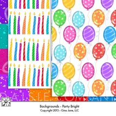 Birthday Party Digital Backgrounds, Balloons, Birthday Candles, Confetti, Polka Dots, in bright primary colors - Digital Scrapbook Backgrounds for Celebrations, Graduation, Birthdays, Thinking of You, Parties,  and Thank You Notes - Gina Jane Designs - DAISIE Company