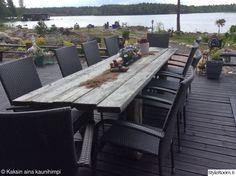 pöytä,terassi,lankkupöytä Outdoor Furniture Sets, Outdoor Decor, Terrace, Villa, Inspiration, Home Decor, Balcony, Biblical Inspiration, Decoration Home