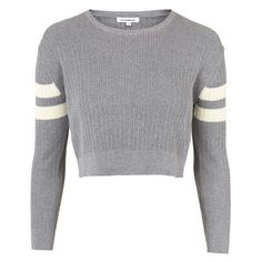 TOPSHOP Knitted Cropped Jumper by Glamorous ❤ liked on Polyvore featuring tops, sweaters, crop top, shirts, jumper crop top, long-sleeve crop tops, topshop jumpers, jumper shirt and sleeve top