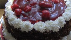 Combine reserved juice, cherries, 1 cup sugar and cornstarch in a 2 quart saucepan. Cook over low heat until thickened, stirring constantly. Stir in 1 teaspoon vanilla. Cake Recipes, Dessert Recipes, Desserts, Cherry Topping, Whipped Cream Frosting, Black Forest Cake, Chocolate Cherry, Let Them Eat Cake, Cake Decorating