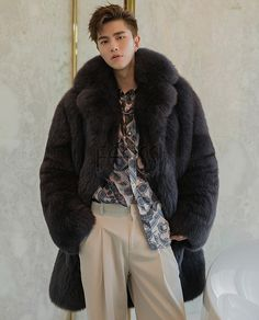 Real fur coat for men, crafted of premium Fox fur.