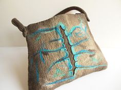 Felted bag, hand felted wool bag purse, unique handbag, designer's art bag OOAK brown, turquoise bag