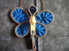 Zipper Jewelry Dragonfly Necklace by SiennaSews on Etsy, $9.98