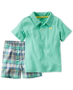 Carter's Toddler Boys' 2-Pc. Polo Shirt & Plaid Shorts Set
