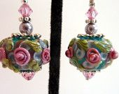 Rose Floral Earrings, Teal Pink Lavender Green Glass Beaded Earrings, Flower Glass Beaded Lampwork Earrings, Roses on Teal, Mother's Day