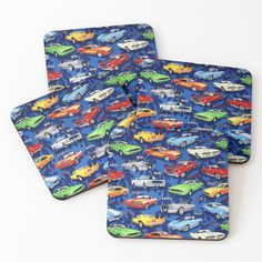Coaster Set, Muscle Cars, Colorful Backgrounds, Coffee Mugs, It Is Finished, Printed, Awesome, Sports, Pattern