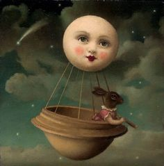 """A Balloon Made from the Moon"" - Oil painting by Stephen Mackey..bunny in the moon balloon"