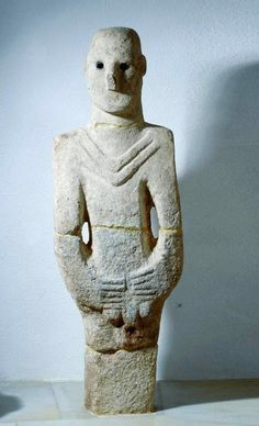 """One of the World's oldest known statues* """"Balıklıgöl Statue"""" in the Urfa Museum is a two-meter high statue of a male which was discovered in Balıklıgöl, Turkey in 1993. The statue is made of limestone and the eyes are carved out of obsidian."""