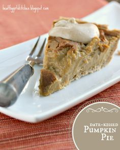 Thanksgiving Date-kissed Vegan Pumpkin Pie with Cashew Cream. I really wanna make the cashew cream in this recipe! Vegan Pumpkin Pie, Vegan Pie, Pumpkin Recipes, Pumpkin Mousse, Pumpkin Pies, Canned Pumpkin, Vegan Foods, Vegan Vegetarian, Vegetarian Recipes