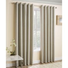 Vogue Ready Made Thermal Blockout Eyelet Curtains Cream