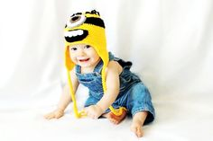 5 Dollar Clearance Ready to ship Crochet baby Despicable Me Minion hat with earflaps - 0-3 months