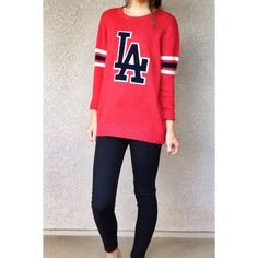 LA slouchy sweater size S red LA sweater with navy blue lettering and arm stripes. slouchy & comfy fit that is super cute for the winter. make an offer! Forever 21 Sweaters Crew & Scoop Necks