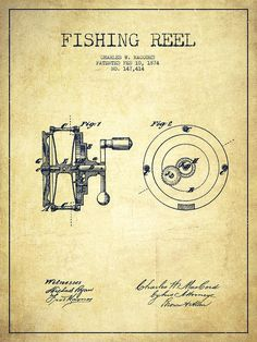 Fishing Reel Poster featuring the drawing Fishing Reel Patent From 1874 by Aged�