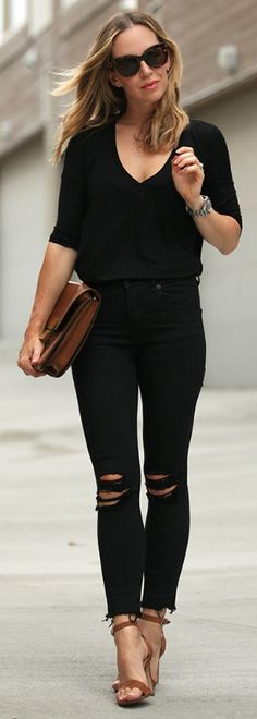 Helena Glazer proves that ripped jeans are forever: just match them with a black sweater and heels!  Tee: Express One Eleven, Jeans: Express, Shoes: Steve Madden