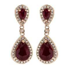 Effy Jewelry Gemma Rose Gold Ruby and Diamond Earrings, 2.98 TCW ($2,800) ❤ liked on Polyvore featuring jewelry, earrings, rubies, pandora jewelry, ruby diamond earrings, ruby earrings, red gold jewelry e ruby jewellery