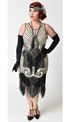 Preorder -  Unique Vintage Plus Size Ivory & Black Beaded Mesh Atlantic Fringe Flapper Dress
