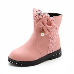 CYBLING Girls Cute Lace Bowknot Boot Zipper Princess Ankle Boots (Toddler/Little Kid). Leather shoes: light and soft to make your baby better and more comfortable in winter. Convenient zipper: simple and fashionable inside zipper, the zipper can be easy to wear off. Exquisite lace: fashion lace decoration, the princess has a very strong personality. Lovely bowknot decoration: make boots full of cute, let baby put on to love it. Shoe head design: the growth of children's feet needs certain...