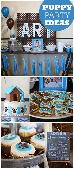 How cute is this puppy pawty? It's for a boy's first birthday! See more party ideas at CatchMyParty.com!
