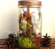 Woodland Scene Mason Jar Decor Fall Leaves by RestylingThePast