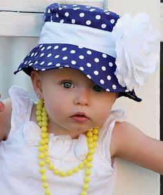 Navy & White Polka Dot Flower Sunhat *absolutely adorable