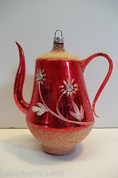 Vintage Hand Blown Mercury Glass Teapot Christmas Ornament we have a blue one that mom had.....