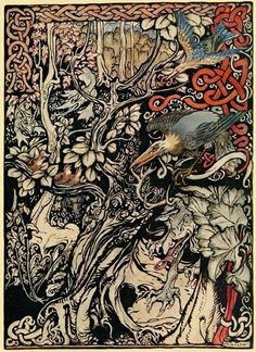 """Irish fairy tales (1920). Illustrations by Arthur Rackham """"Wild and shy and monstrous creatures ranged in her plains and forests."""""""