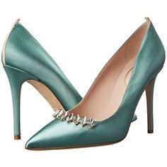 SJP by Sarah Jessica Parker Valentina High Heels, Green (5.661.960 IDR) ❤ liked on Polyvore featuring shoes, green, pointed toe high heels shoes, jeweled shoes, green shoes, green leather shoes and leather shoes