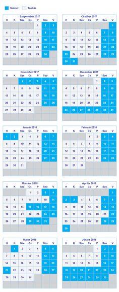 A tanév rendje, iskolaszünetek a 2017/18 tanítási évben - Őszi szünet, téli szünet, tavaszi szünet, nyári szünet ÁTTEKINTŐ NAPTÁR
