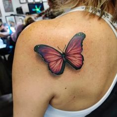 If you're looking for 3d, tiny, large, geometric, dreamy, delicate tattoo ideas in black ink or color, let these butterfly designs inspire your next piece of body art. Traditional Butterfly Tattoo, Colorful Butterfly Tattoo, Butterfly Tattoos For Women, Butterfly Tattoo Designs, Pink Butterfly, Butterfly Design, Traditional Tattoo, Unique Tattoos For Women, Tattoo Designs For Women