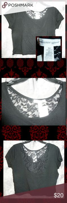 """Solid Black W/Upper Lace Back Crop Top 3X BRAND NEW W/TAGS Ambiance Apparel brand Black Knit Crop Top Jrs Plus Size 3X.  *Approx Womans Sz 16/18/20 *All over solid black color *Scoop neckline *Short sleeves *Sheer floral lace on the upper back area *Very Lightweight *Has all over stretch *Soft knit material *SELF Made of 95% Cotton/5% Spandex *CONTRAST LACE Made of 95% Nylon/5% Spandex  NOTE: In order to show details, I needed to use the flash.  MEASUREMENTS Pit to Pit: 22""""+ Sleeve…"""