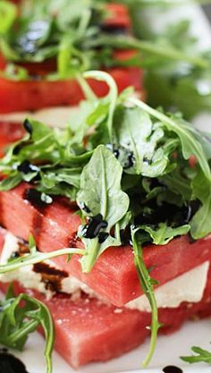 Grilled Watermelon Feta Stacked Salads