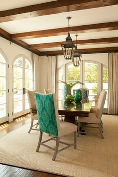 Pacific Palisades IV - Contemporary - Dining Room - Los Angeles - Bonesteel Trout Hall  Like that it has 2 fabrics