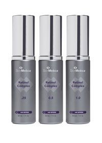 SkinMedica Retinol Complex, available in varying strengths, improves the appearance of photodamage, fine lines and wrinkles, skin tone, brightness, discoloration and roughness.