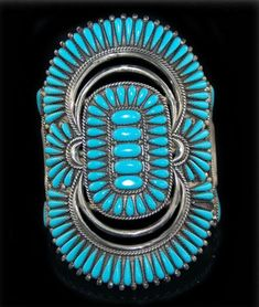 Petit Point Bracelet | Francis Begay. (Zuni). Sterling silver and Sleeping Beauty Turquoise.