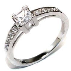 Princess Cut Diamond Promise Ring (White Cubic Zirconia)