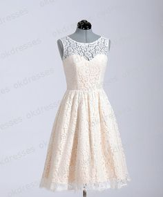 Princess Champagne Lace Short Wedding Dress