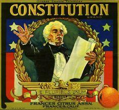 Frances, Tustin Constitution Orange Citrus Crate Label Art Print
