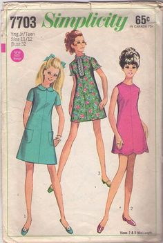 MOMSPatterns Vintage Sewing Patterns - Simplicity 7703 Vintage 60's Sewing Pattern ADORABLE Mod Twiggy Dart Fitted Mini Dress, Laugh In Scalloped Hem Micro Babydoll Dress
