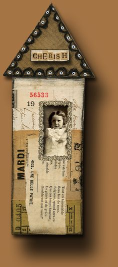 Mixed Media House With Photo Home Crafts, Arts And Crafts, Paper Crafts, Altered Books, Altered Art, Altered Canvas, Found Object Art, Shabby, Assemblage Art