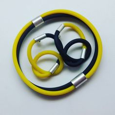 Rubber and silver jewellery  Biżuteria ze srebra i gumy  #rubberjewellery #rubberandsilver #colorfuljewelry #yellowjewellery #cautchoucjewellery #rubberearrings #bigcolorfulearrings