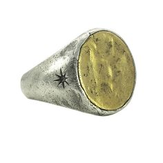 Symbol Signet Ring - Sterling Silver and Brass - Size 12